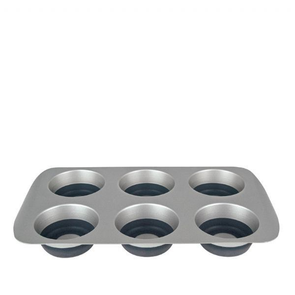Curtis Stone Pop Out 6 Hole Muffin Pan  Presented with an innovative combination of durable cold-rolled steel and flexible silicone Thick rolled edges prevent w