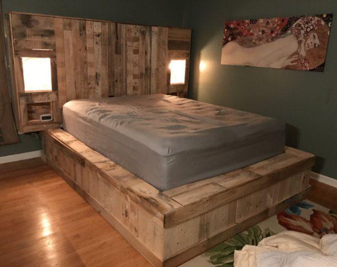 Cabecera iluminada criado cama de plataforma de plataforma | Bed ...