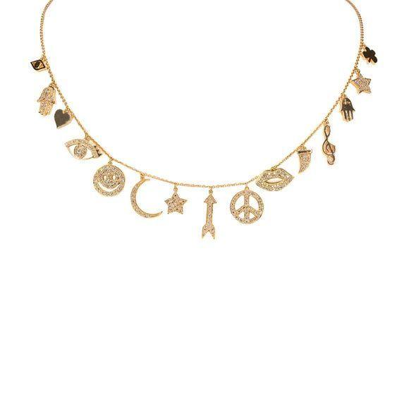 Photo of Rose Gold Diamond Lucky Charm Necklace-Lucky Charm-Diamond Necklace-Smil …