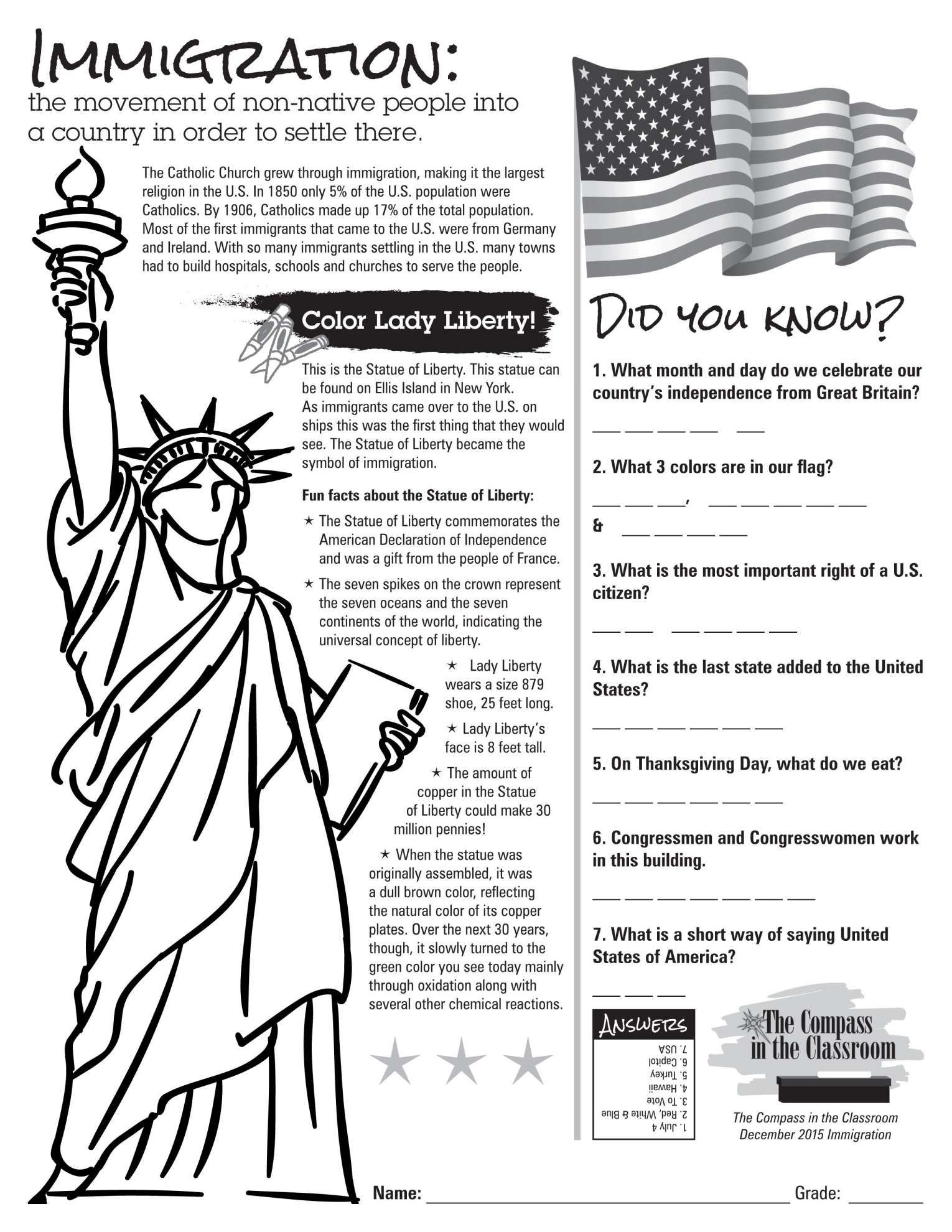 8 2nd Grade Immigration Worksheet
