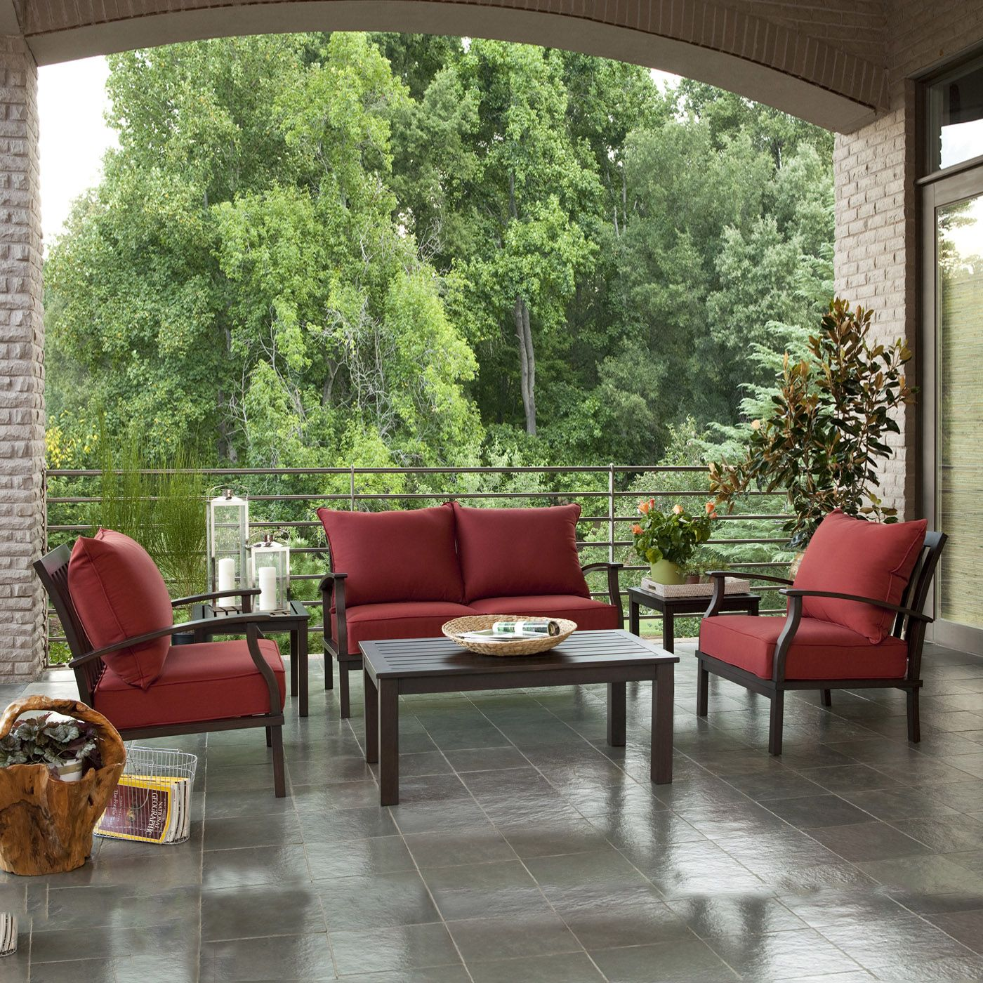 Lovely Allen + Roth 2 Piece Gatewood Outdoor Loveseat And Coffee Table Set