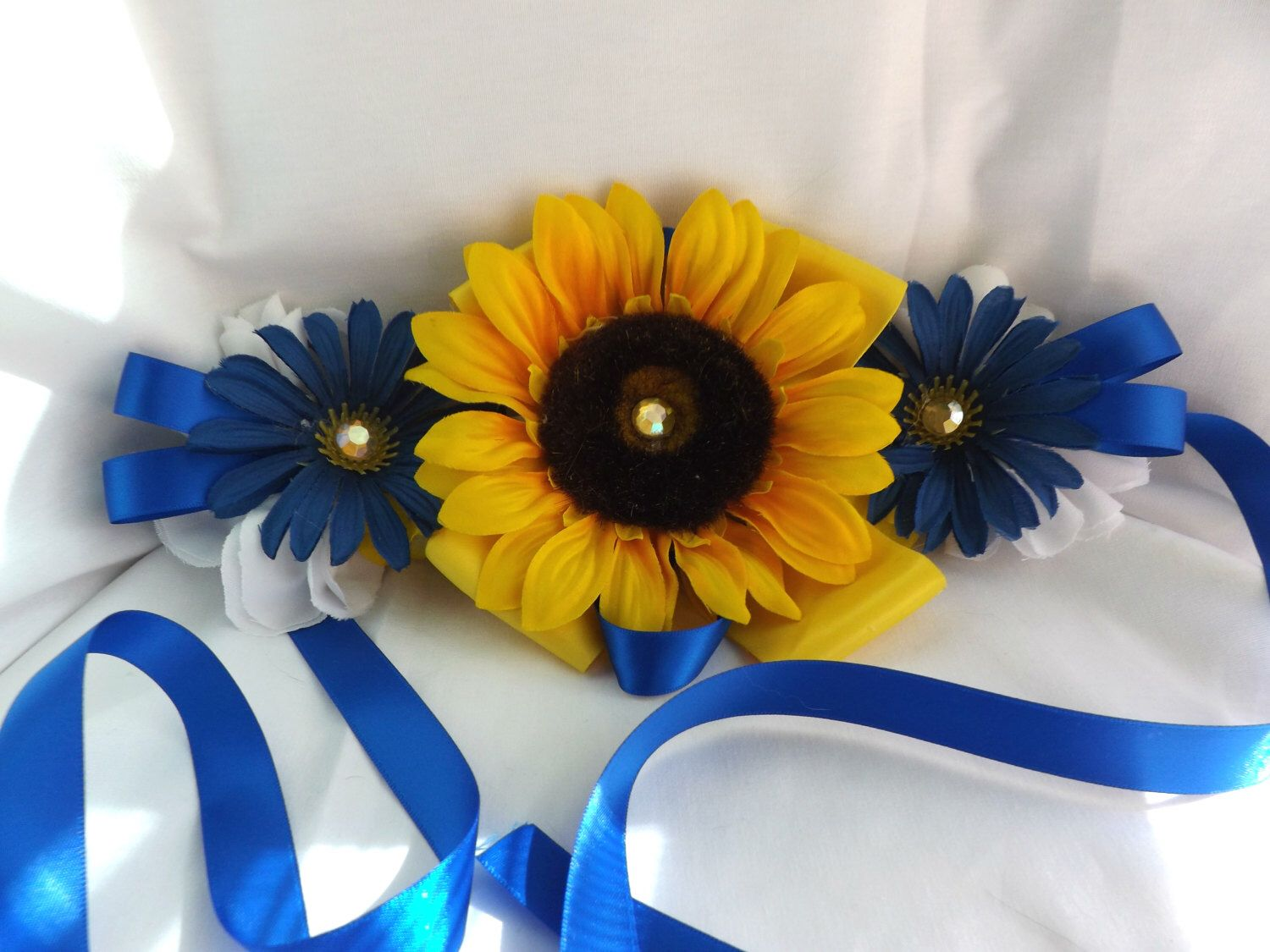 Blue Sunflower Maternity Sash Corsage, Baby Shower, Belt, Belly Sash,  Maternity, Pregnancy, Blue, Yellow, Sunflower, Neutral, Boy, Girl