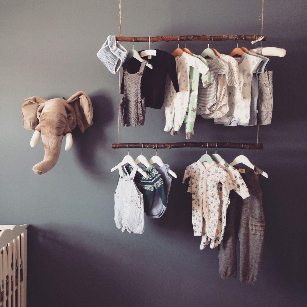 nursery double hang branches u rope  Bebek ve Çocuklara in