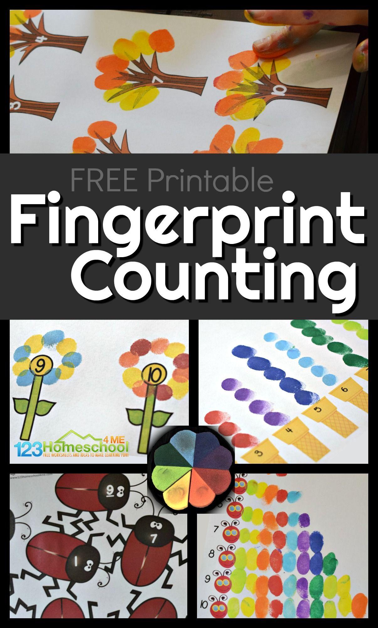 Fingerprint Counting Printables Math Activities Preschool Preschool Activities Numbers Preschool