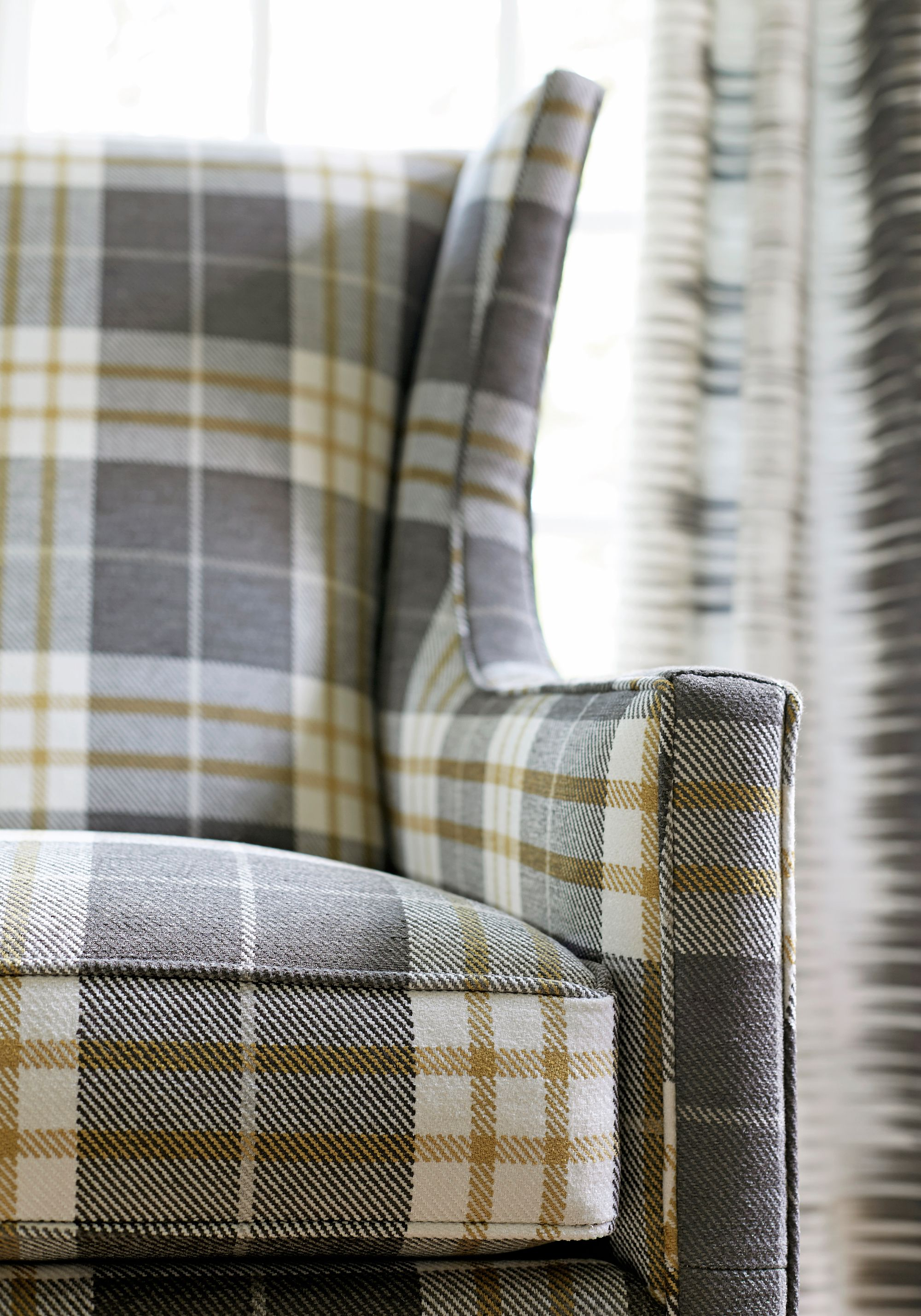 Princeton Wing Chair In Percival Plaid Woven Fabric In