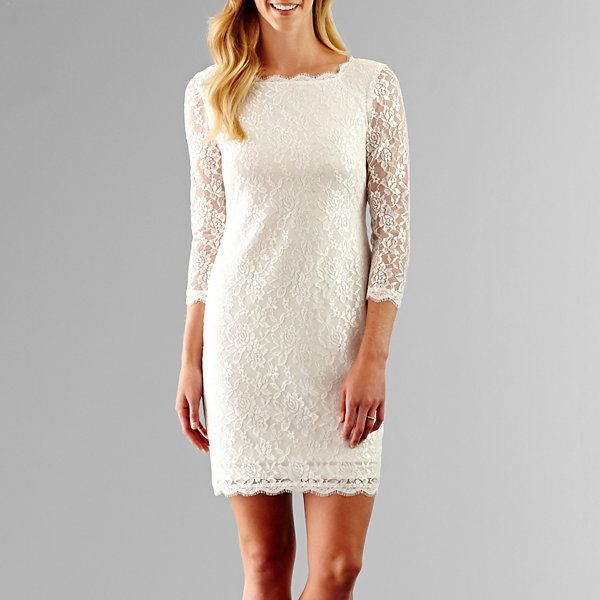 Simply Liliana 3/4-Sleeve Lace Sheath Wedding Dress