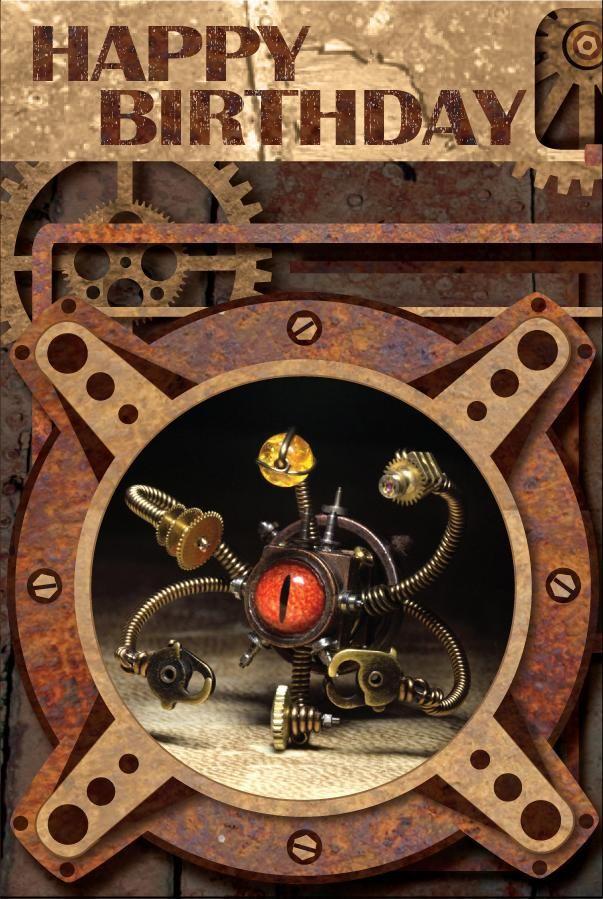 Steampunk Happy Birthday Card By Catherinetterings Steampunk Christmas Happy Birthday Cards Merry Christmas Card