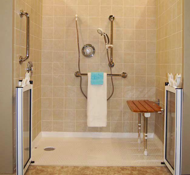 Handicap Bathroom Showers: Sloped Door Entrance