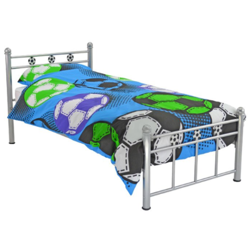 Kids Single Bed Frame Football Design Children Toddler Boys Bedroom Metal Silver