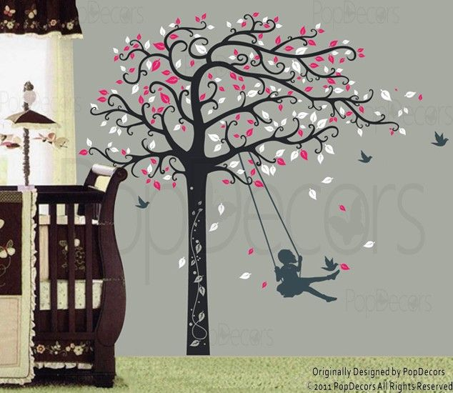 Baby Nursery Wall Decals Girl Swinging | Nursery Tree Decal   Girl Plays  Swing