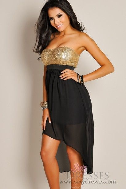Sexy Strapless Gold Sequin Sweetheart High Low Dress - possible girls' dresses