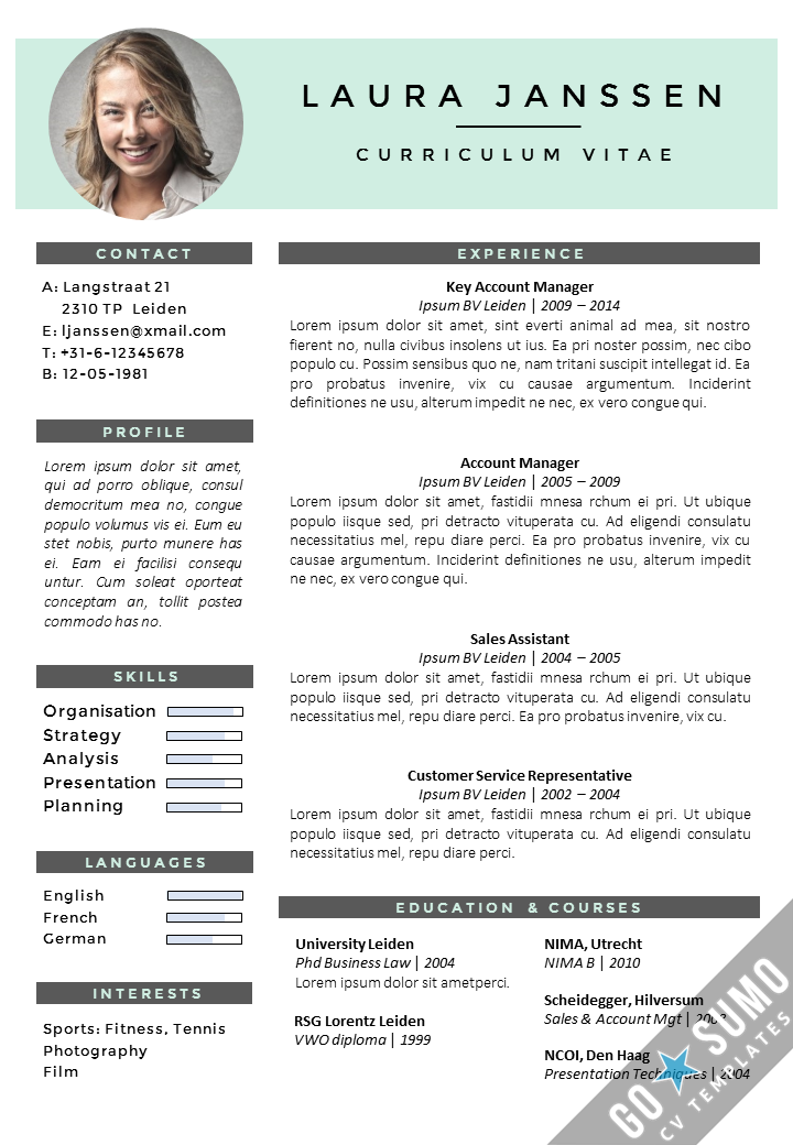 cv template in word  2 color versions in 1   matching cover letter templates  s     gosumo