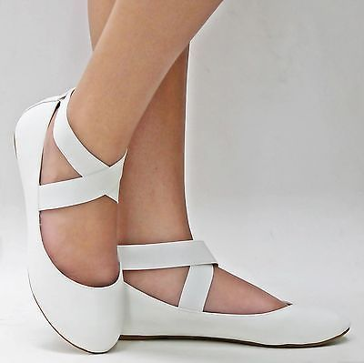 New Women SF1 White Mary Jane Ankle Strap Ballet Flats Sz 5 to 10