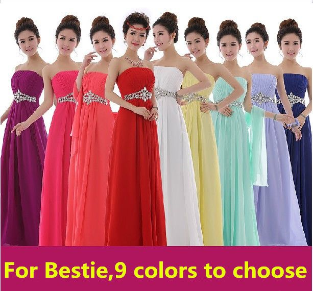 Coral Bridesmaid Dress Turquoise / Yellow Bridesmaid Dress Chiffon Long  Beading Cheap Bridesmaid Dresses Under 50