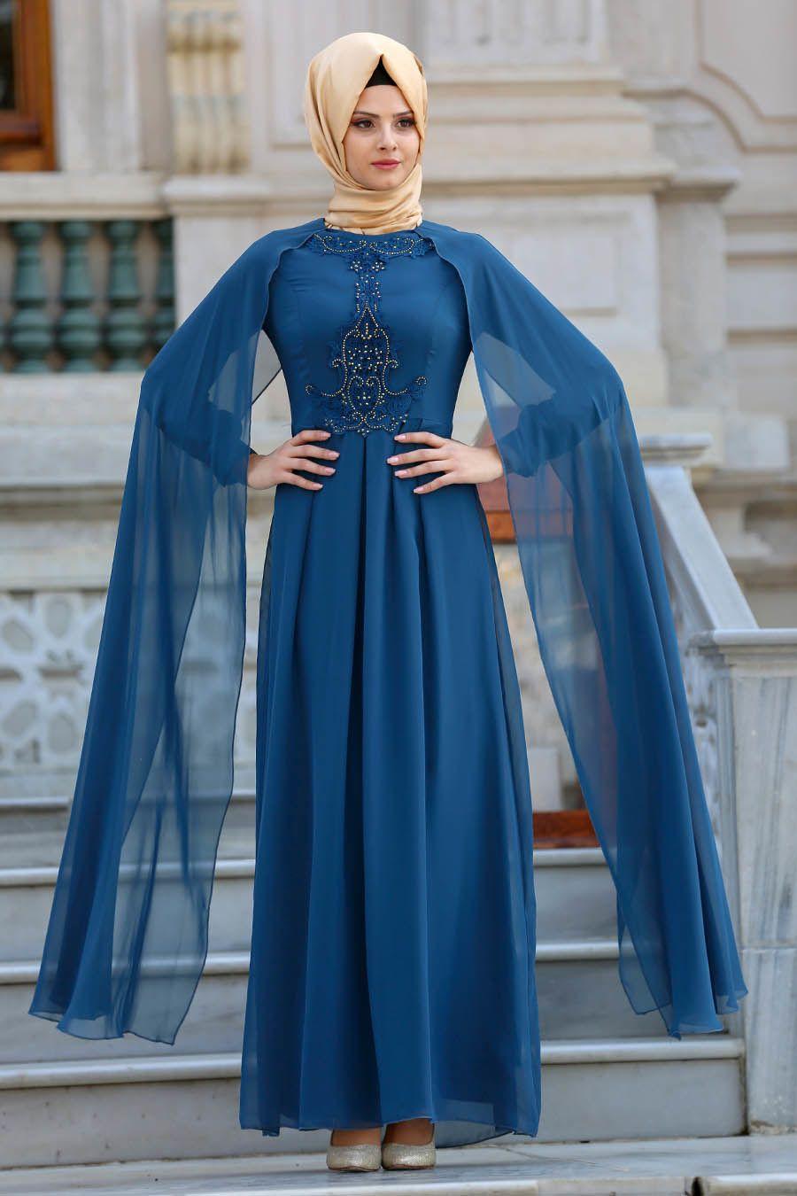 0597efe0e7984 Neva Style - Taşlı Petrol Mavisi Tesettür Abiye Elbise 25617PM  #tesetturisland #tesettur #tesetturelbise