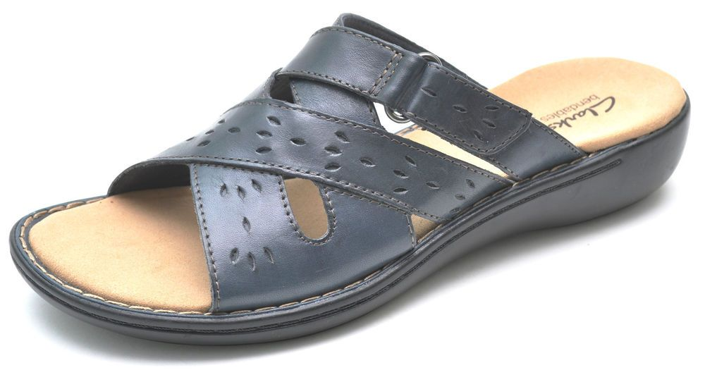 d7481cdf61cc Clarks Bendables LENA WHISPER Navy Blue Slides Slip-Ons Sandals Women s 10  - NEW  Clarks  Slides