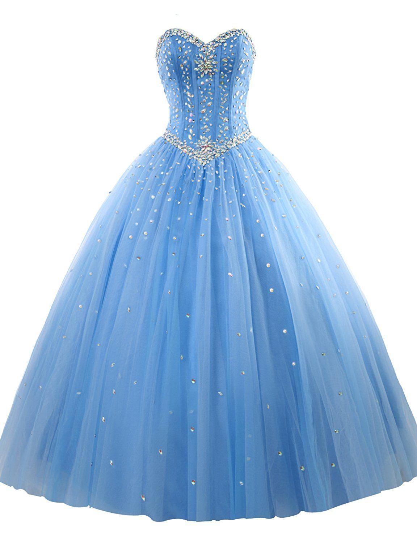 Erosebridal prom gown tulle sweetheart beaded quinceanera dress sky