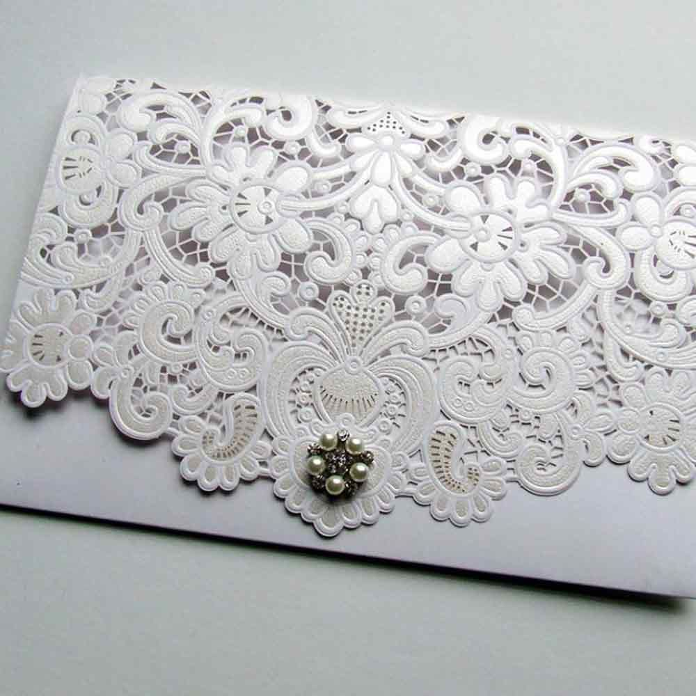 Laser Cut Pocketfold Luxury Crystal Cluster Pocketfold Wedding