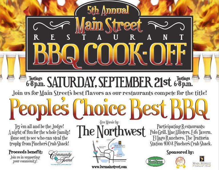 5th Annual Lakewood Ranch Main Street Restaurant BBQ Cook Off - bbq benefit flyers