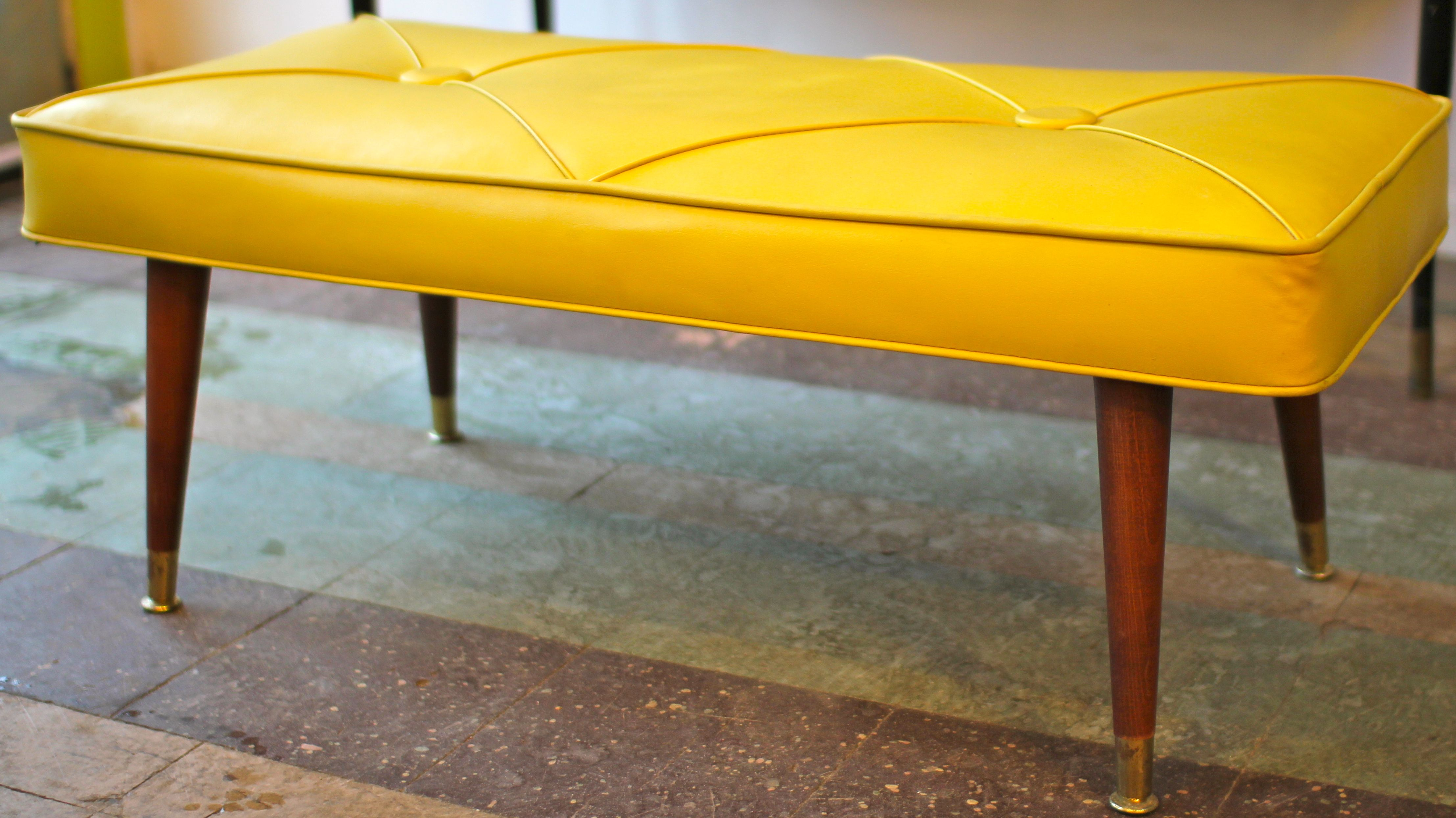 Yellow Tufted Mid Century Modern Bench, Mid Century Modern Furniture Houston, MId-Century Modern Houston, Modernism, Mod, MCM, Hollywood Regency, Yellow Vinyl, Wooden Legs, Dowel Legs, Atomic Legs
