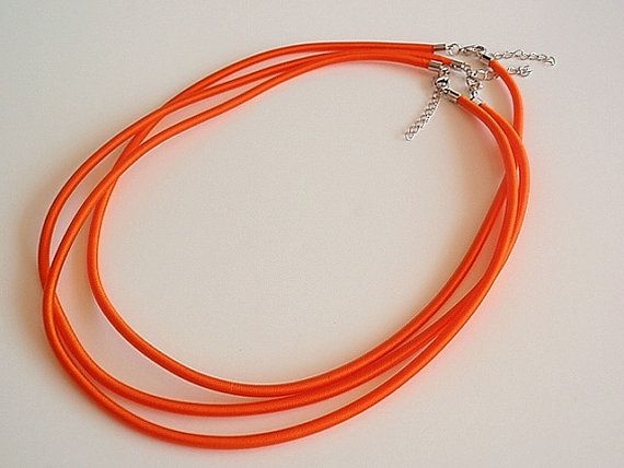 3 Bright Orange Silk Necklaces Jewelry Making by LKcreativedesigns, $3.24