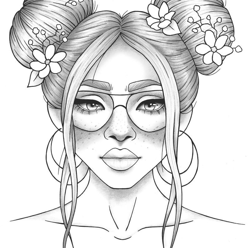 Printable Coloring Page Girl Portrait And Clothes Colouring Etsy People  Coloring Pages, Outline Drawings, Coloring Pages For Girls
