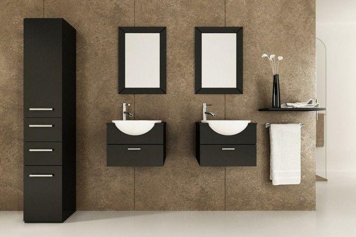 Badezimmermöbel Schwarz ~ Wandschrank für badezimmer schwarz braun hoch salle de bain