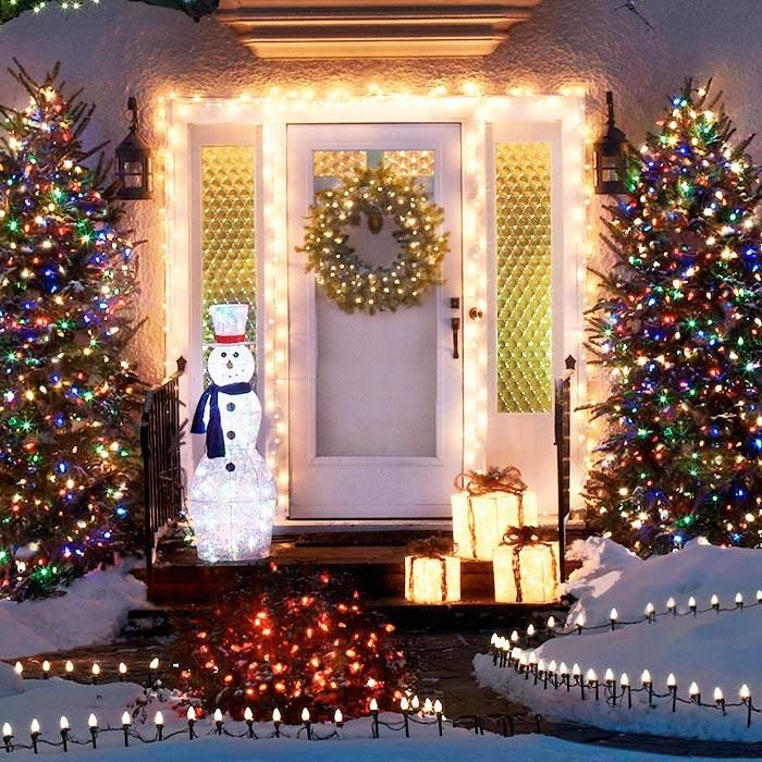 Front porch and surrounding area with christmas lights