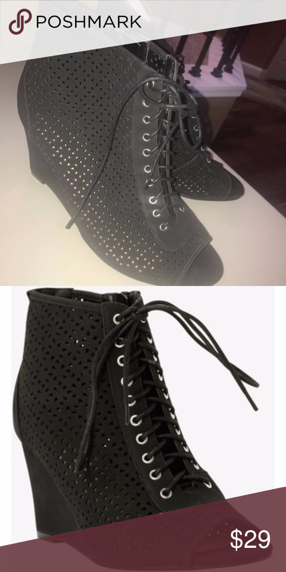 6609669cdc7 NEW black women s shoes 13w 13 Torrid cutout wedge New. Torrid size 13w wide  width women s black cutout wedge bootie. Never worn. No box.