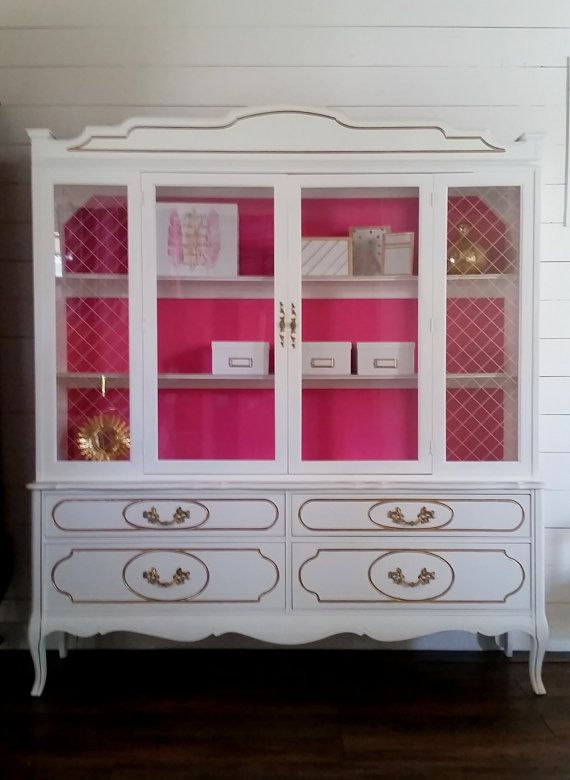 White China Cabinet And Gold Gl Door Storage