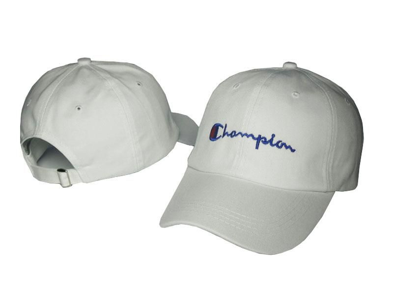 Mens   Womens Champion Brand Script Iconic Logo Vintage Golf Fashion  Adjustable Strap Back Cap - White 17b9a4b5fe