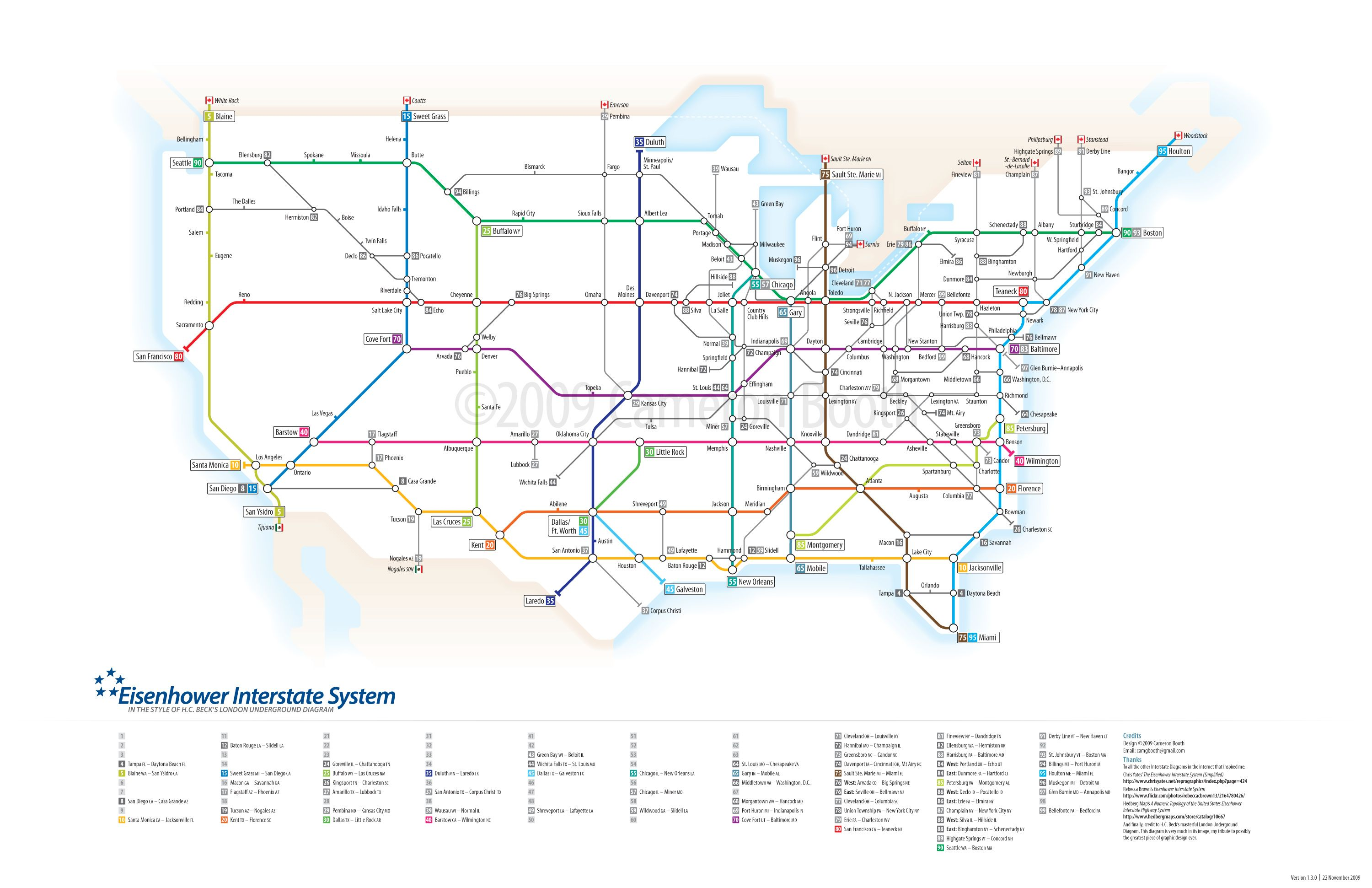 Eisenhower Interstate System Subway Version Of The Us Interstate - Map-of-the-us-interstate-system