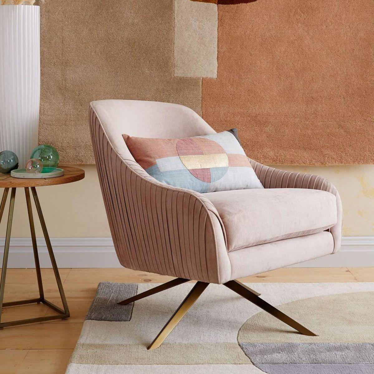 Roar + Rabbit Swivel Chair From Westelm. Soft Velvet Pastel Pink. Brass Legs