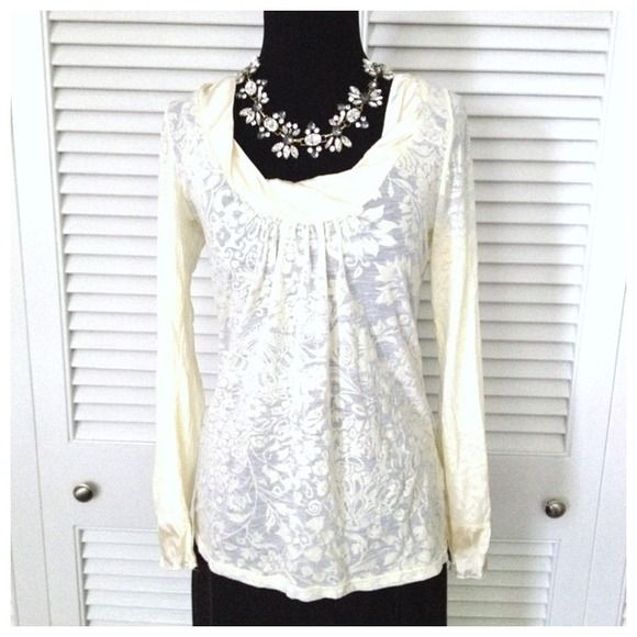 Elegant Lace Top Slim fitting burnt out lace pattern on sheet rayon with silk collar and cuffs. Color is true cream. Looks great with jeans and a chunky necklace. Size M. Originally $79. Testament Tops