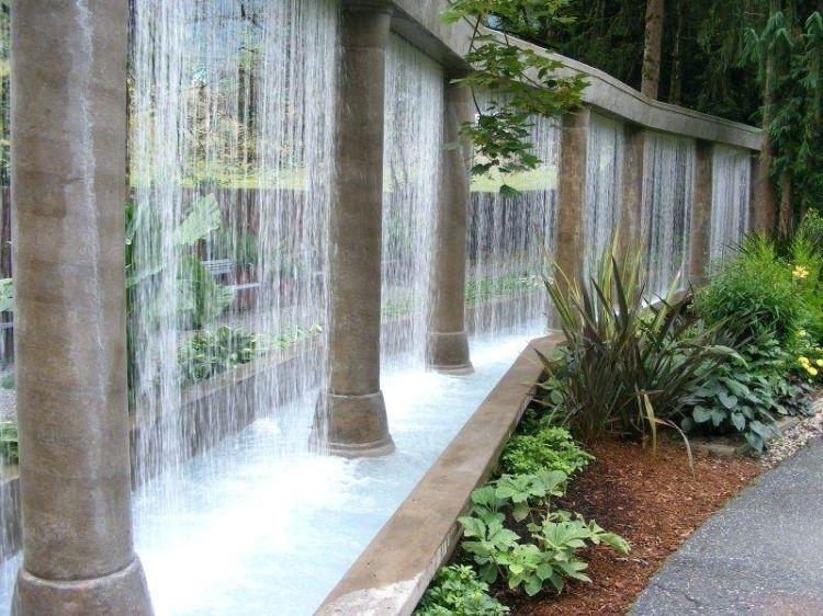 Wandbrunnen Modern Innen Aussen Gestalten Steinmauer Wasserwand