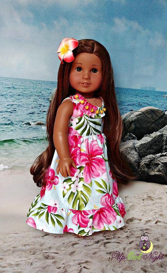 Blue Hawaiian Doll Sundress with Pink Flowers Set -- Dress and ...