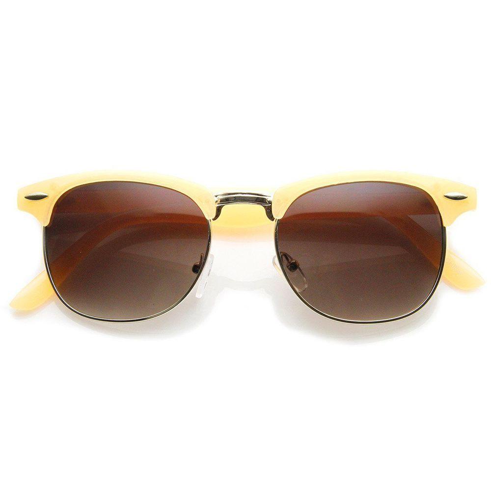 cb4c9d58c4 zeroUV - Pastel Color Semi-Rimless Half Frame Horn Rimmed Sunglasses  (Orange)