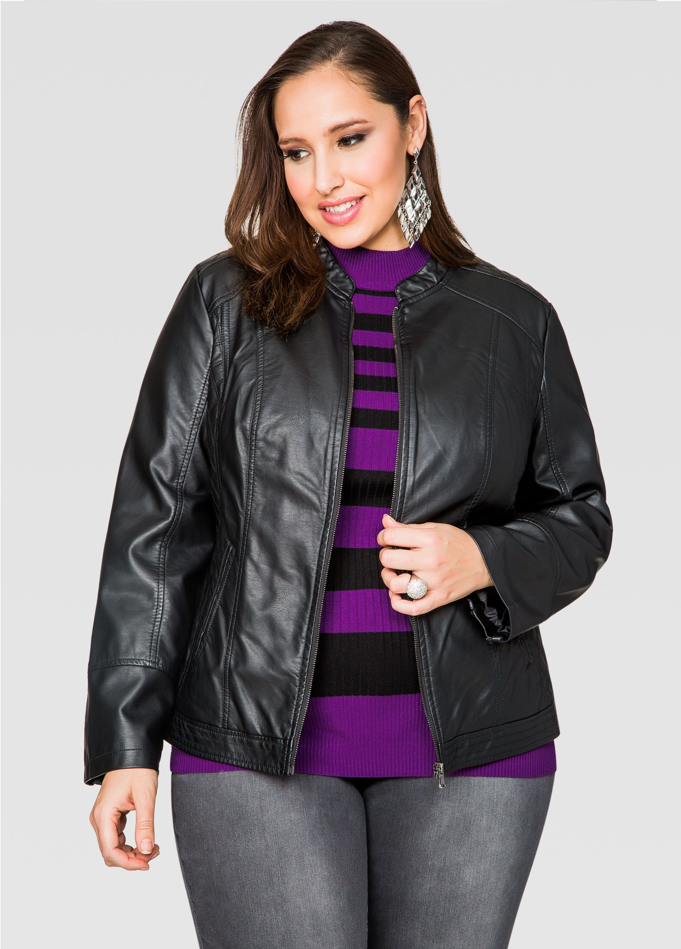 430cba36c8975 Quilted Center Zip Moto Jacket - Ashley Stewart