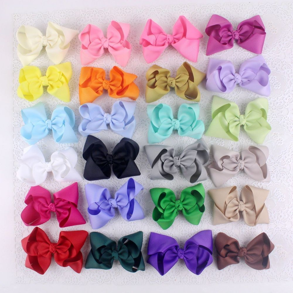 """Wholesale DIY 24pc 4"""" Girl Baby toddler kids solid Boutique Hair Bows Clips 401B #miniangel"""