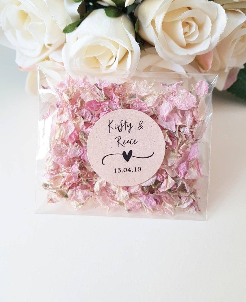 Personalised Wedding Real Flower Petal Confetti Pack