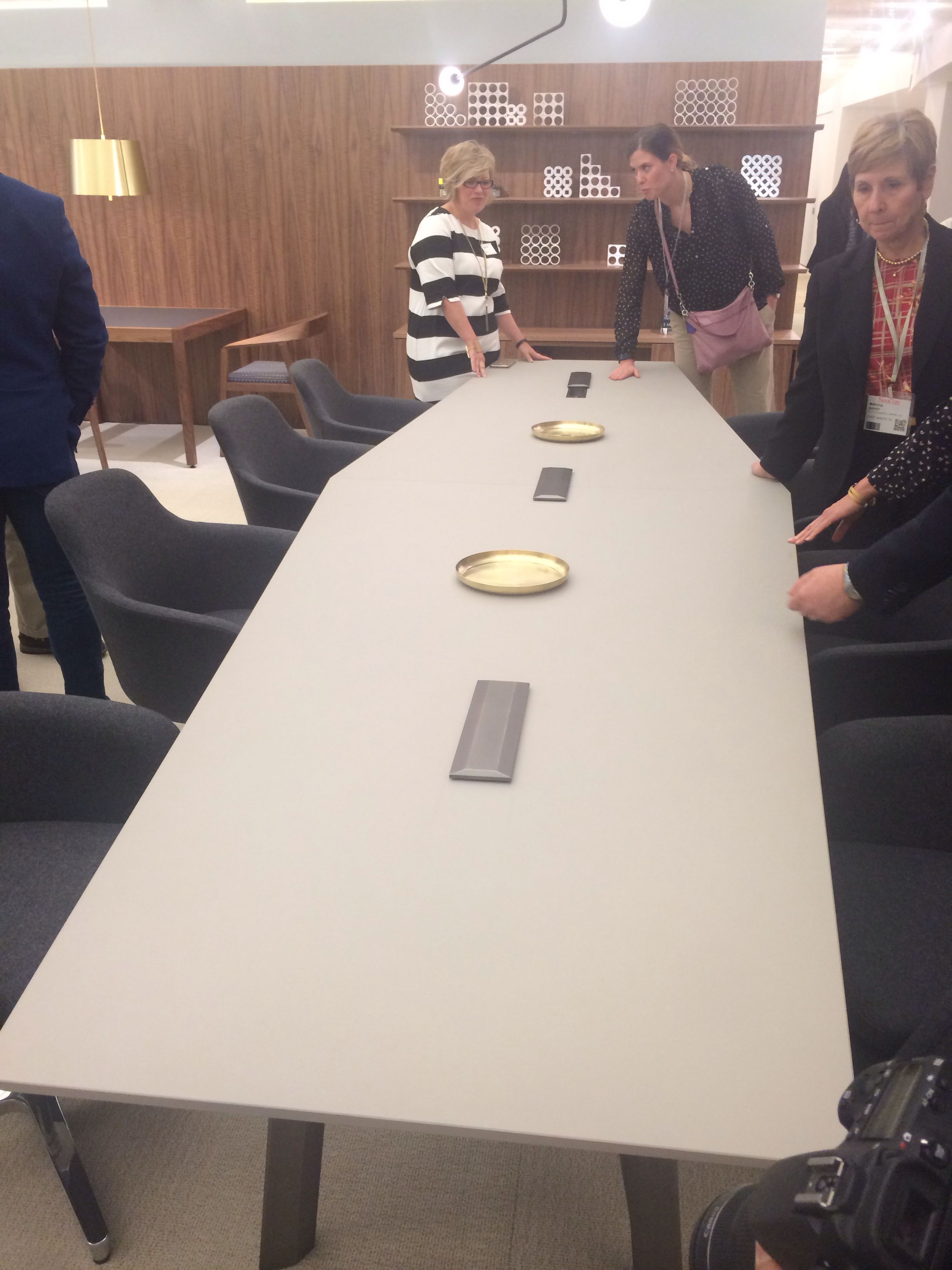 Love the interesting shape of this Geiger conference table.