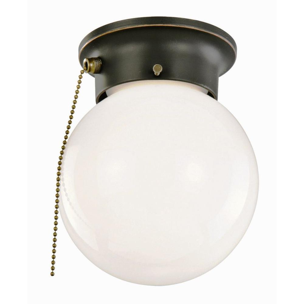 Design House 1 Light Oil Rubbed Bronze Ceiling Light With Opal Glass And Pull Chain 519264 The Home Depot Bronze Ceiling Lights Bathroom Ceiling Light Ceiling Lights