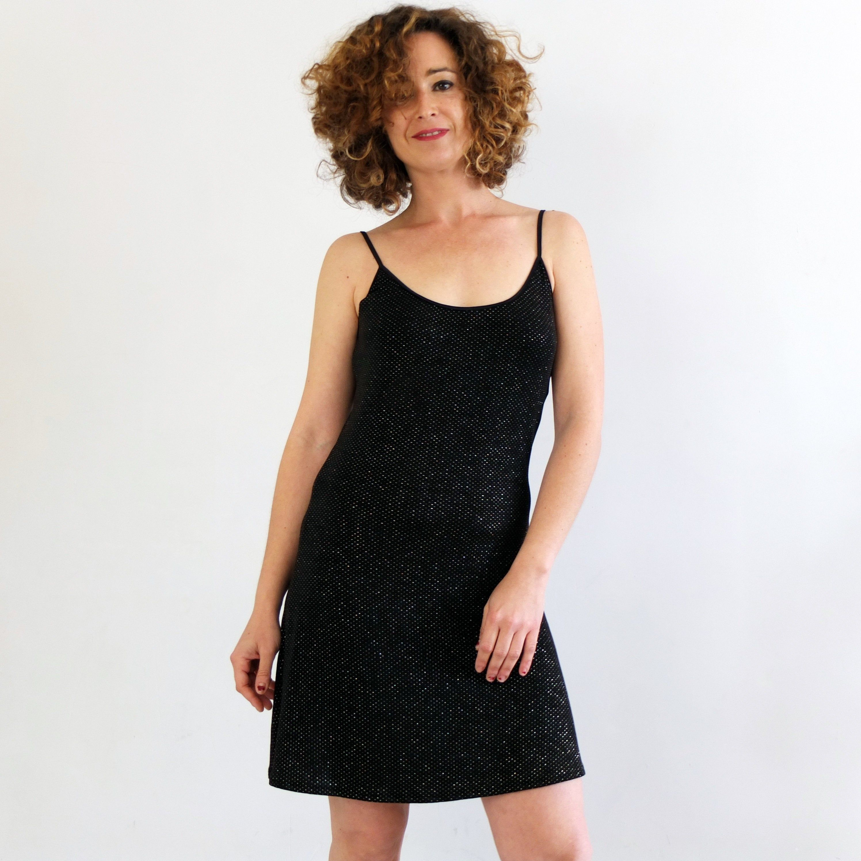 90s Minimal Black Slip Dress Gold Glitter Black Mini Dress Etsy Black Slip Dress Mini Black Dress Black Slip Ons [ 2992 x 2992 Pixel ]