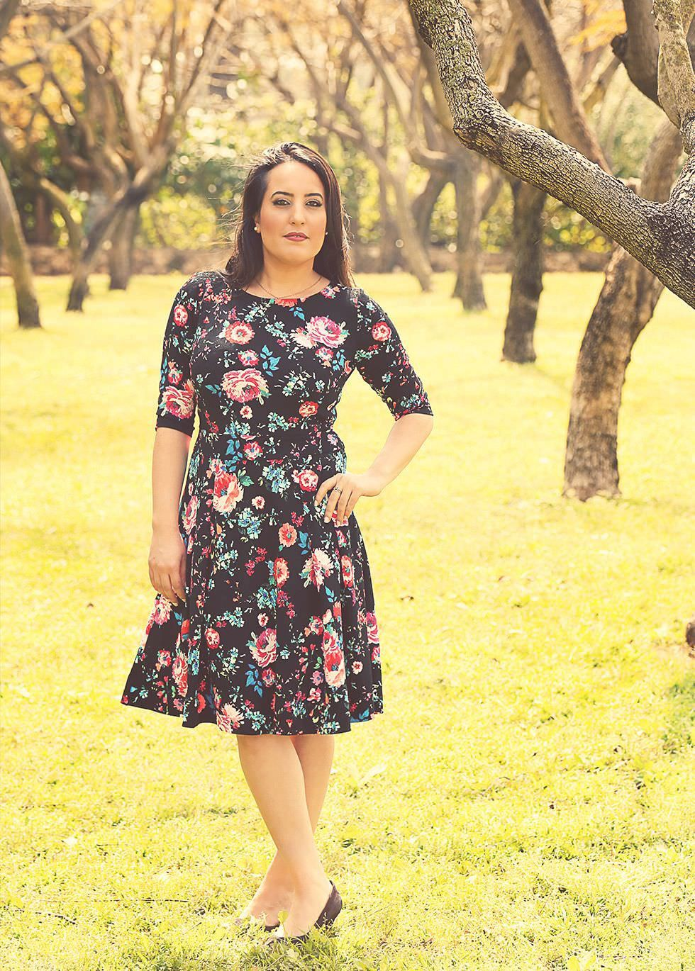 Black floral dress modest chic holiday dress with floral print