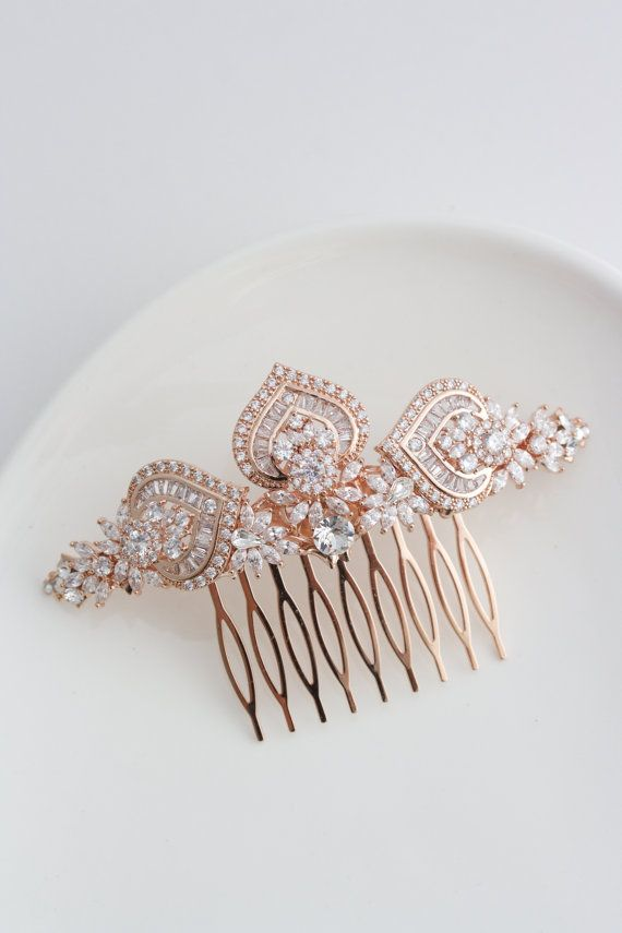 Cubic Zirconia and Crystal Rose Gold Hair Pin