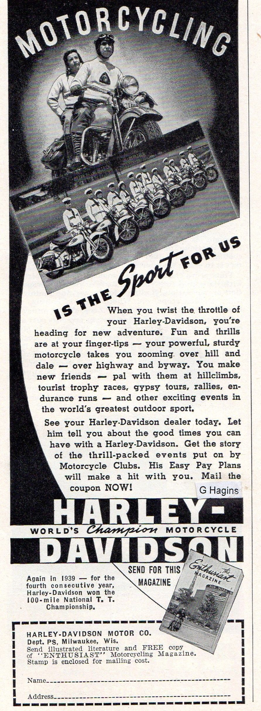 1939 ad. Hagins collection.