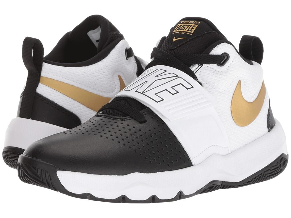 88eadccbdbcb53 Nike Kids Team Hustle D8 (Big Kid) Boys Shoes Black Metallic Gold White