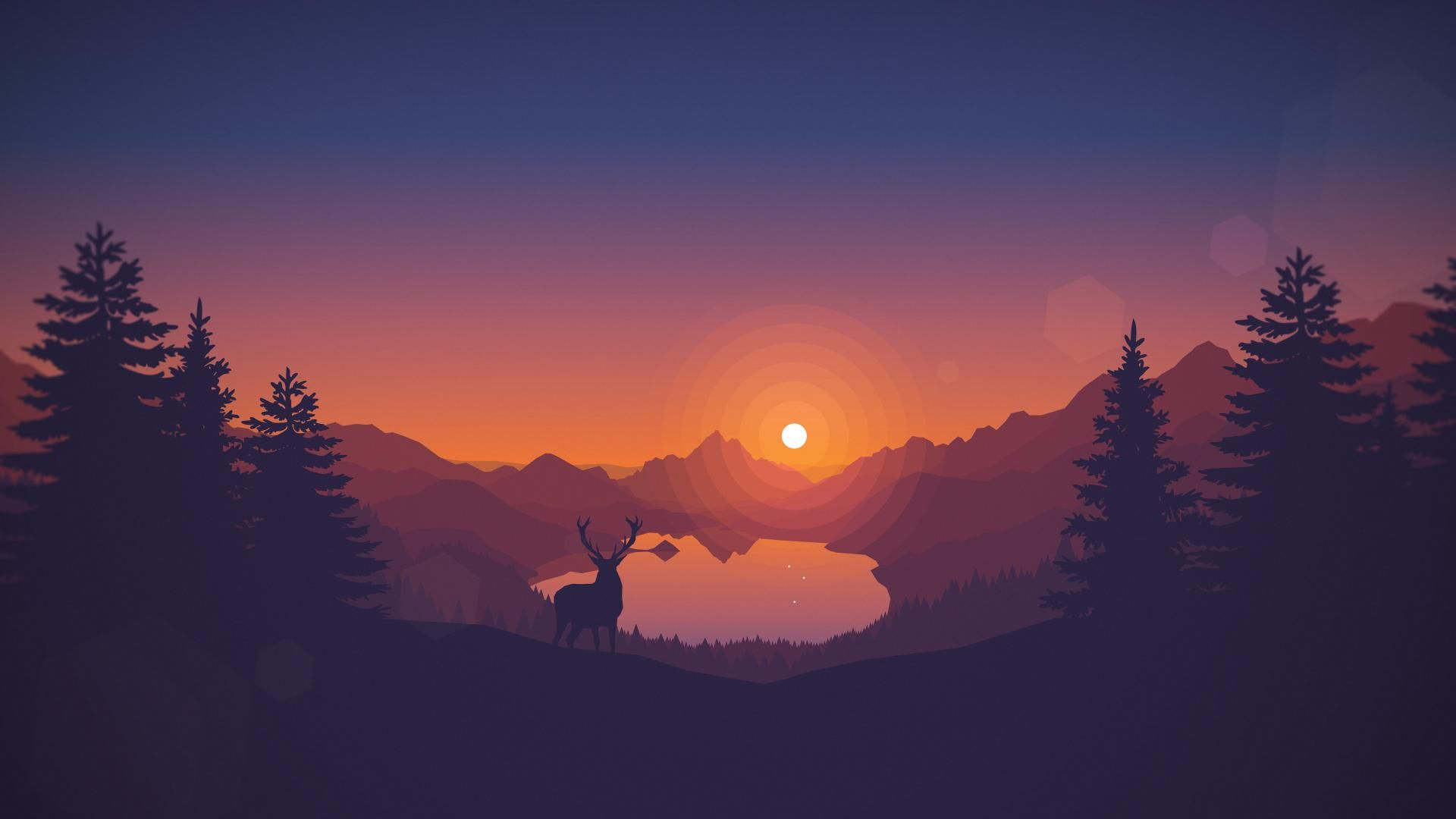 Dawn Landscape Wallpaper Sunset Wallpaper Minimalist Wallpaper