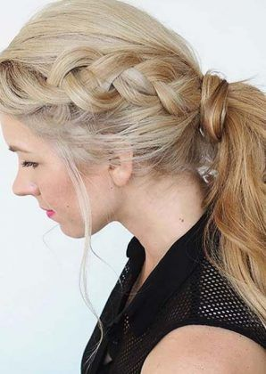 braided ponytail + blonde / #long #hairstyles