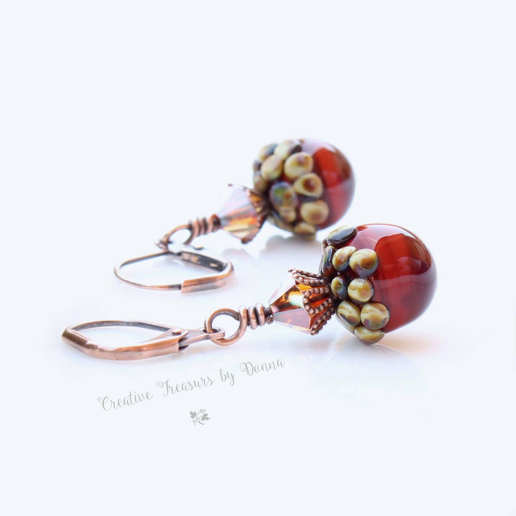 Acorn Copper Earrings Swarovski Crystals Lampwork Glass Acorns Fall Earrings Reddish Brown Fall Earrings by Ctbydonna on Etsy